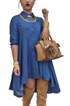 e92497b129 Blue Plain Single Breasted Irregular Swallowtail Pleated Plus Size Turndown  Collar Long Sleeve Denim Club Fashion Midi Dress