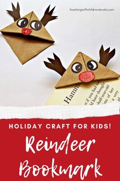 Here is a cute reindeer bookmark craft for kids! This tutorial is complete with pictures, instructions, and a free printable template. Diy Christmas Reindeer, Reindeer Craft, Kids Christmas, Christmas Crafts, Preschool Christmas Activities, Craft Activities For Kids, Craft Kids, Bookmark Craft, Holiday Crafts For Kids