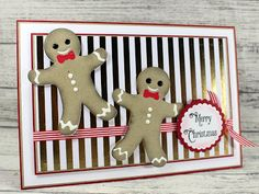 Happy Wednesday, I rarely do 'cute' cards but I just love the little gingerbread man form Press Cut that I had on last weeks shows. Gingerbread Man, Gingerbread Cookies, Merry Christmas Card, Happy Wednesday, Cute Cards, Holiday Decor, Sue Wilson, Projects, Handmade