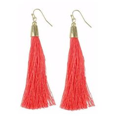 Moon and Lola Brisbane Earrings Neon Coral By ($42) ❤ liked on Polyvore featuring jewelry, earrings, tassel earrings, coral jewellery, coral jewelry, moon and lola and earring jewelry