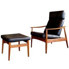Vintage 1960's Arne Vodder Easy Chair  and Footstool model FD 16