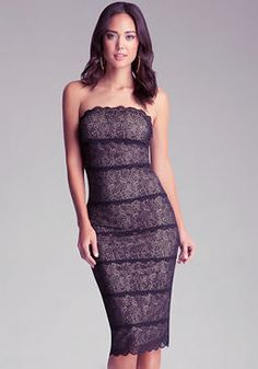 bebe Strapless Lace Midi Dress