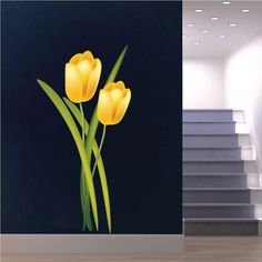 Tulip Wall Decals Tulip Wall Designs Tulip Wall by PrimeDecal Office Wall Decals, Wall Mural Decals, Tree Wall Murals, Wall Decals For Bedroom, Flower Wall Decals, Bedroom Decor, Simple Wall Paintings, Wall Painting Decor, Wall Decor