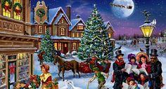 "Képtalálat a következőre: ""victorian christmas scene"" Tall Christmas Trees, Christmas Town, Merry Christmas To All, Old Fashioned Christmas, Christmas Scenes, Victorian Christmas, Vintage Christmas Cards, Christmas Carol, Christmas Pictures"