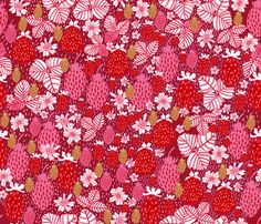 Strawberry Field Floral fabric by rubydoor  Love the limited palette, the sense of depth, the texture! Great stuff!