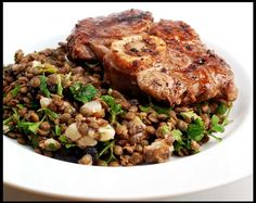 An easy Lentil Salad seasoned with parsley, olives and goat cheese topped with pan fried Veal Shanks - a earthy and hearty dish. Veal Shank, Fried Beef, Lentil Salad, Lentil Recipes, Different Recipes, Recipe Using, Lentils, Lamb, Fries