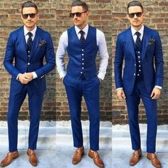 royal blue mens suit on sale at reasonable prices, buy FOLOBE Costume Homme Customized Royal Blue Mens Suits Traje De Hombre Casual Slim Fit Men Suits Formal Business Suits from mobile site on Aliexpress Now! Groom Tuxedo, Tuxedo For Men, Groom Vest, Groom Attire, Tuxedo Vest, Modern Tuxedo, Mens Attire, Blue Groomsmen Suits, Groom Suits