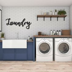 Laundry Room Remodel, Laundry Room Signs, Small Laundry Rooms, Washroom Sign, Farmhouse Laundry Rooms, Laundry Room Wall Decor, Laundry Room Island, Laundry Room Shelving, Basement Laundry Area