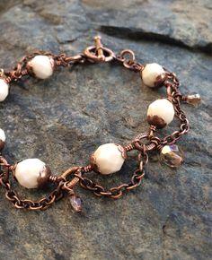 Enchanted Chandelier Bracelet in Antique Copper - Cream and Celsian
