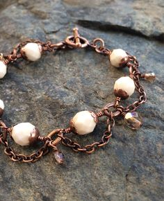 Enchanted Chandelier Bracelet in Antique Copper - Cream and Celsian