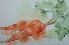 Original Watercolor Painting Carrots Vegetables Garden