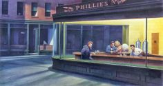 A James Dean parody of Edward Hopper's Nighthawks painting | I thought I'd seen them all! —Dr. J #hopper #parody JournaltoHealth.com