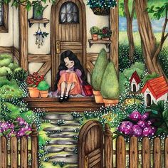 Pretty Art, Cute Art, Forest Girl, Wallpaper Iphone Disney, Cute Anime Pics, Cute Illustration, Anime Art Girl, Cute Drawings, Coloring Books