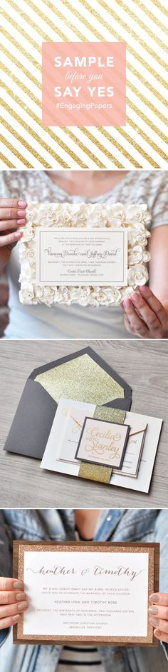 Get your hands on Engaging Papers' invitations...literally! Sample these luxe designs before you commit! If you end up purchasing your invitations, you will be credited back for the sample! Whats to loose?