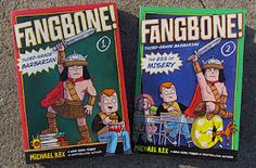Silly! Gross! Perfect if you are 8-11. Fangbone is a child warrior from another, less bathing-oriented dimension, who must contend with the challenges of third grade. He must also protect a toe from an evil monster who wants it back to destroy his home dimension. Ok...it all makes sense (of a silly sort) in the book.