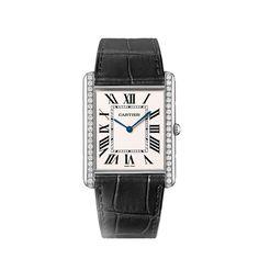 Orologio Tank Louis Cartier ultrapiatto - Manuale, oro bianco, diamanti, pelle - Fine Segnatempo maschile e femminile - Cartier