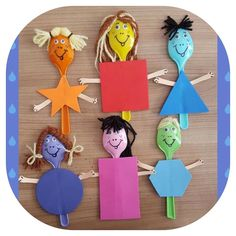 Shape puppets made from spoons Kids Crafts, Summer Crafts, Preschool Crafts, Projects For Kids, Diy And Crafts, Arts And Crafts, Plastic Spoon Crafts, Learning Shapes, Shape Crafts