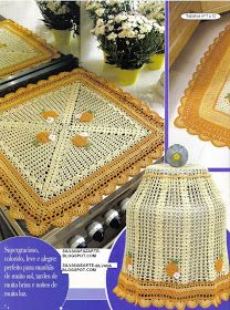 As Receitas de Crochê: JOGO DE COZINHA AMARELO EM CROCHE Crochet Box, Filet Crochet, Crochet Crafts, Crochet Doilies, Crochet Flowers, Home Crafts, Diy And Crafts, Kitchen Runner, Textile Fiber Art