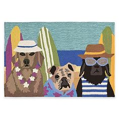 for meg - Whimsical canines in beach attire adorn the Trans-Ocean Front Porch Beach Patrol Door Mat. Enhance any room, indoors or outdoors, with this lightweight and durable piece. Its easy-to-clean, loosely tufted design resists fading from UV light.