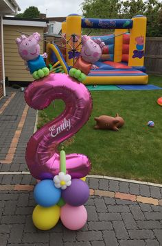Peppa Pig Birthday Cake, 2nd Birthday Party For Girl, Birthday Balloon Decorations, Birthday Balloons, Peppa Pig Balloons, Balloon Tower, How To Make Balloon, Balloon Arrangements, Pig Party
