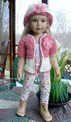Crocheted Cardigan and Hat Set for Kidz 'n Cats Dolls by CloudNineAdornments on Etsy https://www.etsy.com/listing/230223101/crocheted-cardigan-and-hat-set-for-kidz