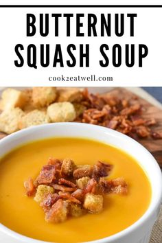 This creamy butternut squash soup is a perfect way to usher in fall. In this recipe, onions, carrots, celery,garlic and coriander balance the sweetness of the butternut squash beautifully. Healthy Soup Recipes, Chili Recipes, Easy Dinner Recipes, Great Recipes, Cooking Recipes, Blender Recipes, Yummy Recipes, Yummy Food, Vegetable Puree Soup