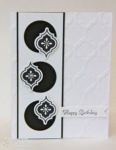 Ladybug Designs Cardstock: Basic Black, Whisper White Stamps: Mosaic Madness, Create a Cupcake Ink: Stazon, Basic Black Other: Mosaic Textured Embossing Folder, Mosaic Punch, Basic Rhinestones, Circle Punch, Dimensionals