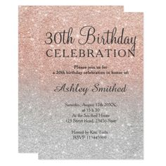 Rose gold faux glitter silver ombre 30th birthday card - glitter glamour brilliance sparkle design idea diy elegant