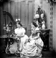 Two Sisters Sewing, 1865 Photo by London Stereoscopic Company/Getty Images