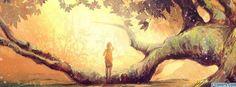 sun trees fantasy art facebook cover