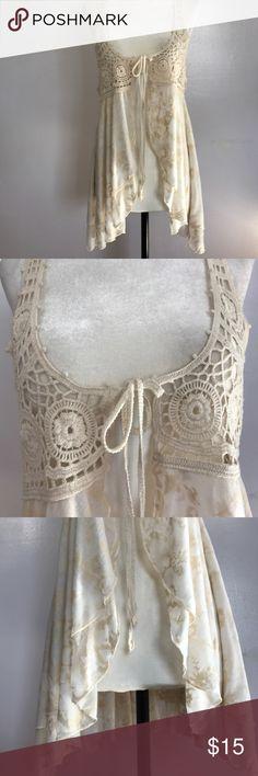 Kenar Crocheted Burnout Waterfall Vest- S/M Beautiful, feminine seamless design! Lightweight layered Ivory burnout pattern! Like new💕💕 Kenar Tops