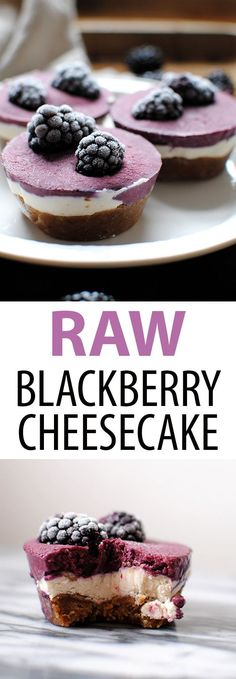 Raw Blackberry Cheesecakes are raw, vegan, gluten free, and delicious. Just 8 ingredients: coconut milk, shredded coconut, maple syrup, dates, walnuts, cashews, coconut oil, and blackberries // raw cheesecake // raw dessert // blackberry dessert // health