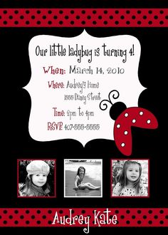 Little Ladybug Birthday Invitation -