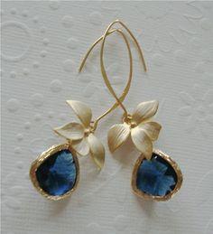 Vermeil Gold Dangle Earrings / orchid jewelry / Drop earrings / Blue sapphire / Long earrings / Flower / wedding gift / Bridesmaids gift by 2010louisek7 on Etsy