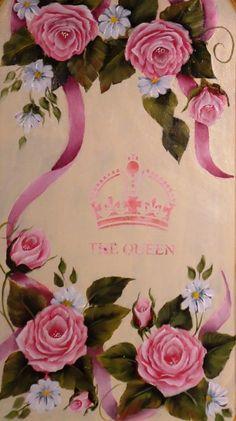 Pinceladas de Silvia Mongelos - Rosas y estencil