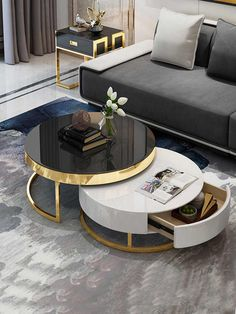Foldable Collapsible Tea Table for living room glass coffee table round table Home Decor Furniture, Sofa Furniture, Home Decor Bedroom, Modern Bedroom, Luxury Furniture, Furniture Design, Center Table Living Room, Table Decor Living Room, Decorating Coffee Tables