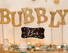 New Years Eve Party Decorations - Sweet n Sparkly Bubbly Bar - Click Pic for 17 New Years Eve Party Food Ideas