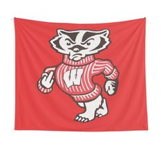 2246223e Wisconsin Bucky Badger flipping the bird on some inspiring college dorm. '