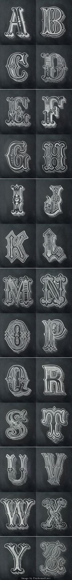 Chalk Alphabet by Antonio Rodrigues Jr... - a grouped images picture - Pin Them All.   The positive an negative spaces balance out nicely with how they swtich on each side of the letter. The designs within the typeface also balance out with the negative spaces of the letter.