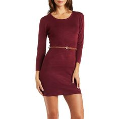Charlotte Russe Burgundy Combo Belted Crew Neck Sweater Dress by... ($30) ❤ liked on Polyvore featuring dresses, burgundy combo, long sleeve dress, red sweater dress, sweater dress, red mini dress and red bodycon dress