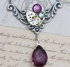 Steampunk Necklace Steam Punk Jewelry  by inspiredbyelizabeth, $49.00