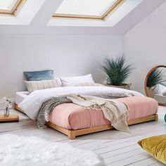 Low Loft Wooden Bed Frame by Get Laid Beds - Modern Loft Room, Bedroom Loft, Bedroom Decor, Bedroom Ideas, Attic Bedrooms, Bedroom Wardrobe, Cama Tatami, Low Bed Frame, Low Loft Beds