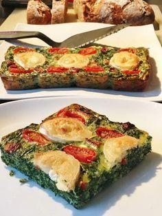 Quiche sans pâte épinards/chèvre/tomates
