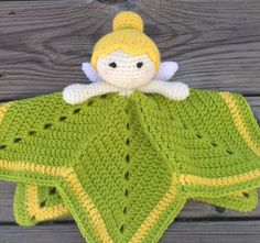 Crochet Fairy Lovey/ Security Blanket: Green by AndreaDanielle