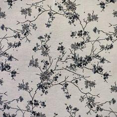 Jacquard fleur de cerisier japonais noir et gris