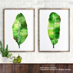 Banana leaf watercolor painting, Tropical print, Botanical art print, Set of 2, Green artwork, Leaf art, Beach house decor, Green home decor