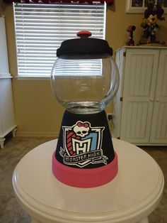 Monster High  birthday party. DIY gumball machine, super cute and easy. There are plenty of tuturials online for this.
