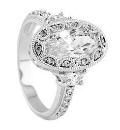 vintage oval engagement rings | Details about Silver Antique Milgrain Oval Setting CZ Engagement Ring