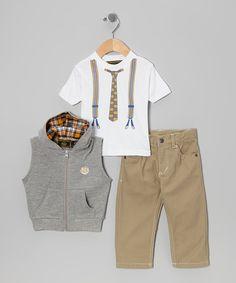 Take a look at this Gray & Tan Vest Set - Infant by College Boyys on #zulily today!