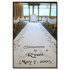 Wedding Aisle Runner with the names of the bride and groom and wedding date